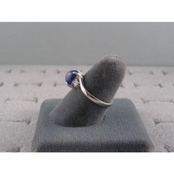 VINTAGE LINDE LINDY CORNFLOWER BLUE STAR SAPPHIRE CREATED RING RD PLATE .925 S/S