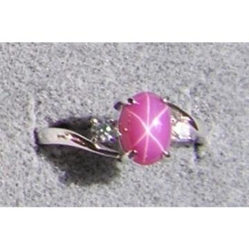VINTAGE SIGNED LINDE LINDY PINK STAR RUBY CREATED SAPPHIRE RING RHD PLT .925 S/S