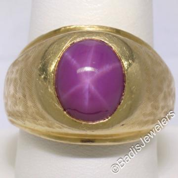 Men's Large Heavy Florentine Finished 14K Yellow Gold Bezel Linde Star Ruby Ring