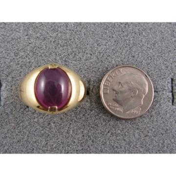 PMP LINDE LINDY TRANS RED STAR RUBY CREATED SAPPHIRE RING YEL GOLD PLATE .925 SS