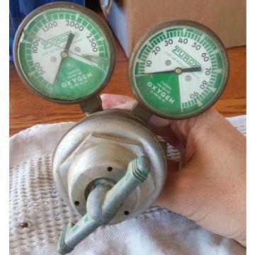VINTAGE OXYGEN REGULATOR LINDE AIR PRODUCTS TYPE R 205 PUROX GAUGE