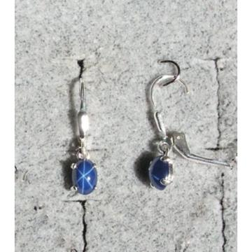 VINTAGE LINDE LINDY CRNFL BLUE STAR SAPPHIRE CREATED LEVER BACK EARRINGS .925 SS
