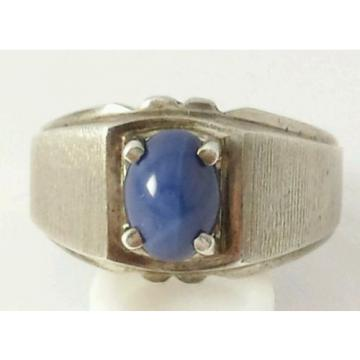 Brushed Sterling Silver Linde Star Sapphire Ring Size 7 1/2