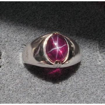 MEN'S 10x8mm 3+ CT TRN RED LINDE LINDY STAR SAPPHIRE CREATED RUBY SECOND RING SS