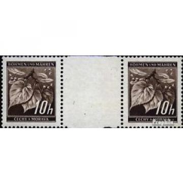 Bohemia et Moravia 21 paire avec interpanneau oblitéré 1939 linde branche