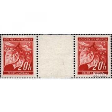 Bohemia et Moravia 22 paire avec interpanneau oblitéré 1939 linde branche