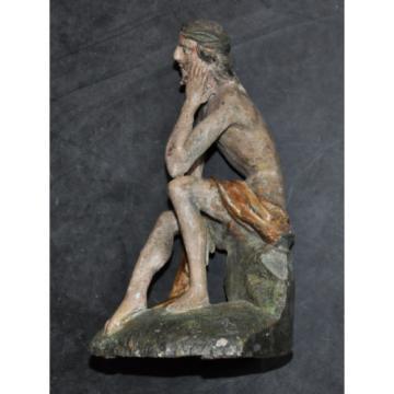 """""""Christus in der Rast"""", ca. 1750, alte Fassung, Linde geschnitzt, 23 cm hoch"""