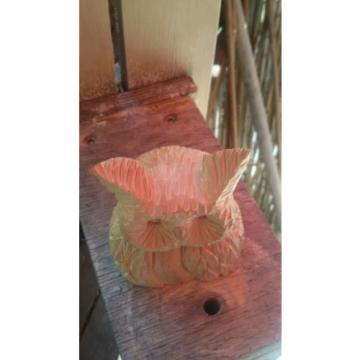 Eule Gesicht Holzfigur Hand geschnitzt aus Linde Schnitzholz Kunsthandwerk