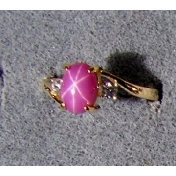 VINTAGE SIGNED LINDE LINDY PNK STAR RUBY CREATED SAPPHIRE RING YL GLD PL .925 SS