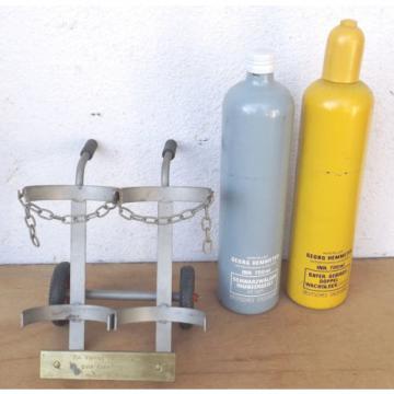 Linde Acetylen/Corgon Schnapsflaschen auf Sackkarren - Dekorationsobjekt