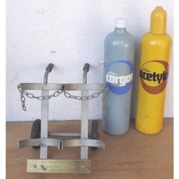 Linde Acetileno/Corgon Botellas de aguardiente en carros mano Objeto decoración