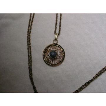 Vintage 12 Gold Filled Filigree,Linde/Lindy Blue Star Sapphire Pendant Necklace