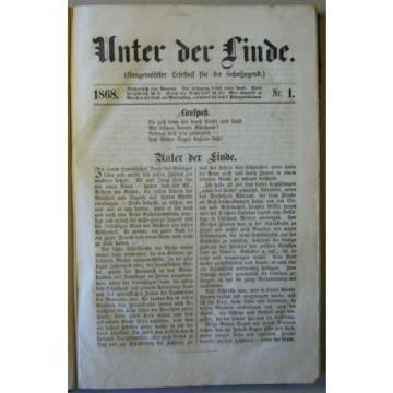 """Zeitschrift """"UNTER DER LINDE"""" LESESTOFF FÜR DIE SCHULJUGEND, 3 Jahrg. 1868-1871"""