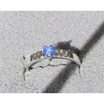 4X4 MM HEART LINDE LINDY CF BLUE STAR SAPPHIRE CREATED 2ND RD PLT .925 S/S RING