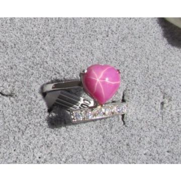 9x9MM HEART LINDE LINDY PINK STAR RUBY CREATED SAPPHIRE 2ND STAINLESS STEEL RING