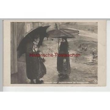 (75965) Künstler AK Hermann Linde, Dachauerinnen bei Regenwetter 1908