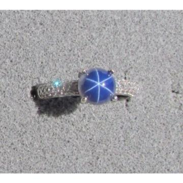 VINTAGE LINDE LINDY 7MM RND CF BLUE STAR SAPPHIRE CREATED RING RD PLATE .925 S/S