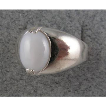 MEN'S HUGE 12x10mm 5+ CT WHITE LINDE LINDY STAR SAPPHIRE CREATED SECOND RING SS