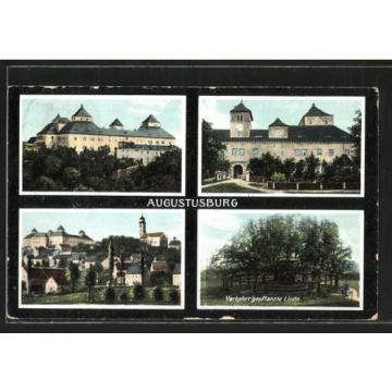 alte AK Augustusburg, Verkehrt gepflanzte Linde und Schloss