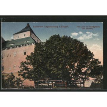 alte AK Augustusburg, alte Linde im Schlossgraben
