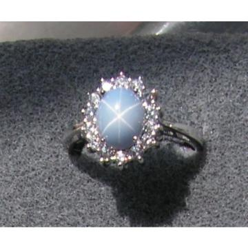VINTAGE LINDE LINDY SIGNED LT AZURE BLUE STAR SAPPHIRE CREATED HALO RING RDPL SS
