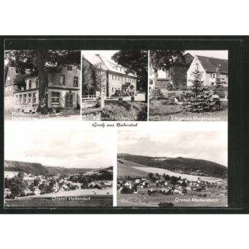 schöne AK Markersbach, Gasthaus zur Linde, Erbgericht, Panoramaansicht
