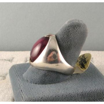 MENS 16X12mm 9+ CT LINDE LINDY RED STAR SAPPHIRE CREATED RUBY SECOND RING SS