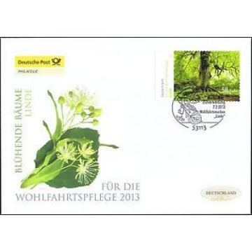 BRD 2013: Blühende Linde! Post-Wohlfahrt-FDC mit selbstklebender Nr. 2986! 1606
