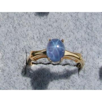 2+ CT PMP LINDE LINDY TRNS CEYLON BLUE STAR SAPPHIRE CREATED RING YGOLDP .925 SS