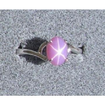 VINTAGE LINDE LINDY DUSKY ROSE STAR SAPPHIRE CREATED BYPASS RING RD PLT .925 SS