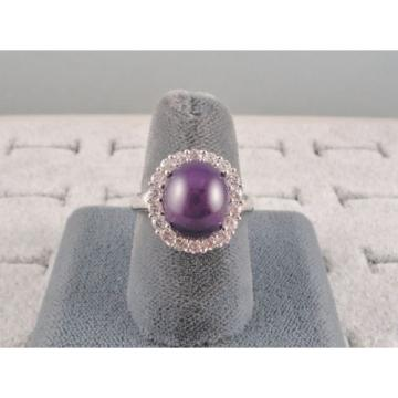 VINTAGE LINDE LINDY PERIWINKLE STAR SAPPHIRE CREATED HALO RING RD PLT .925 SS