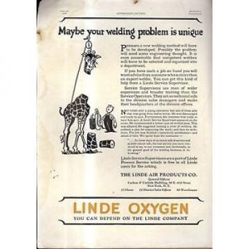 Linde Air Products  Company New York NY   Ad 1926 Giraffe
