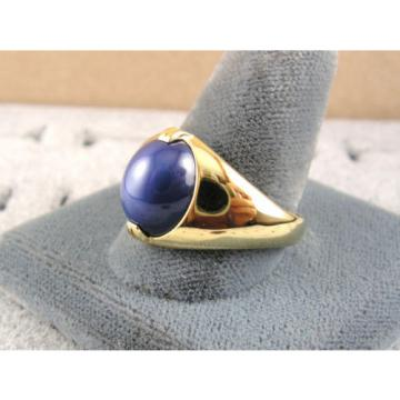 SIGNED VINTAGE LINDE LINDY CRNFLWER BLUE STAR SAPPHIRE CREATED RING YGP .925 S/S