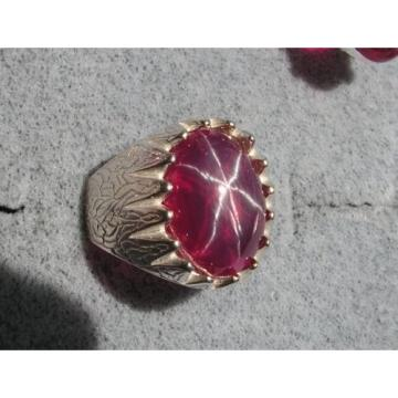 MEN'S 18X13MM 12+CT LINDE LINDY TR RED STAR SAPPHIRE CREATED RUBY SECOND RING SS