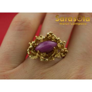 14K Yellow Gold Marquise Linde Star Sapphire Solitaire Women's Ring Size 6.75