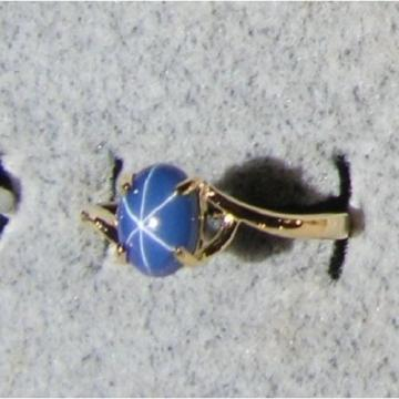 VINTAGE LINDE LINDY CORNFLOWER BLUE STAR SAPPHIRE CREATED RING SOLID 14K YL GOLD