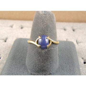 SIGNED VINTAGE LINDE LINDY CRNFLWER BLUE STAR SAPPHIRE CREATED RING SOLID 14K YG
