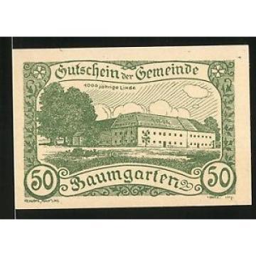 Notgeld Baumgarten bei Perg 1920, 50 Heller, 1000jährige Linde