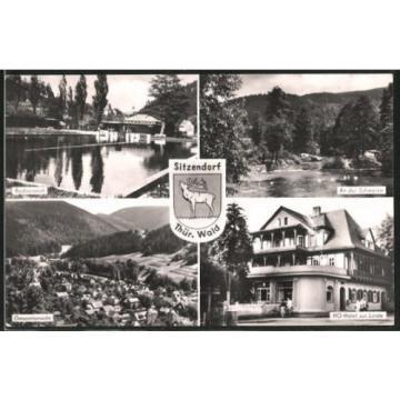schöne AK Sitzendorf, HO-Hotel zur Linde, Badeanstalt, An der Schwarza 1964