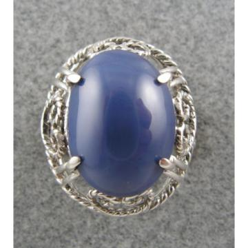 PMP LINDE LINDY HUGE 16x12 MM CORNFLOWER BLUE STAR SAPPHIRE CREATED RING .925 SS