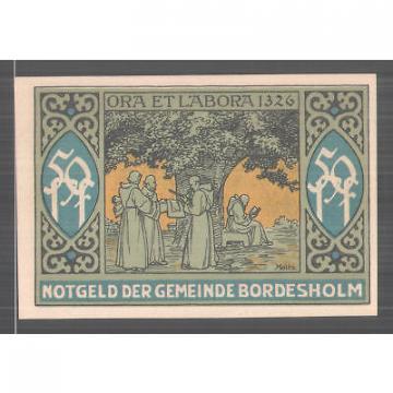 Notgeld Bordesholm 1921, 50 Pfennig, Stadtwappen, Mönche sitzen vor Linde
