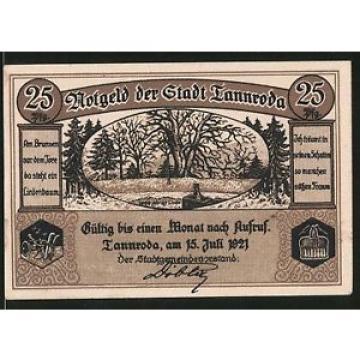 Notgeld Tannroda 1921, 25 Pfennig, 1000 jährige Linde, Stadtwappen