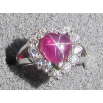 8MM HEART LINDE LINDY RED STAR RUBY CREATED SAPPHIRE 2ND RD PL HALO 925 SS RING