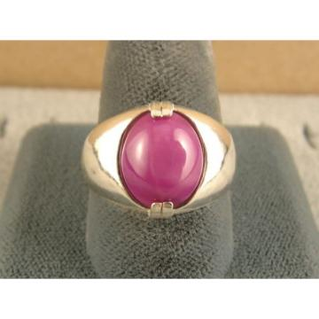 MEN'S 12x10mm 5+ CT LINDE LINDY PINK STAR SAPPHIRE CREATED RUBY SECOND RING SS