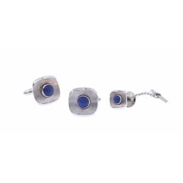 Men's Set 14K White Gold Star Sapphire Tie Tac Cufflinks Linde Orig Box Vintage