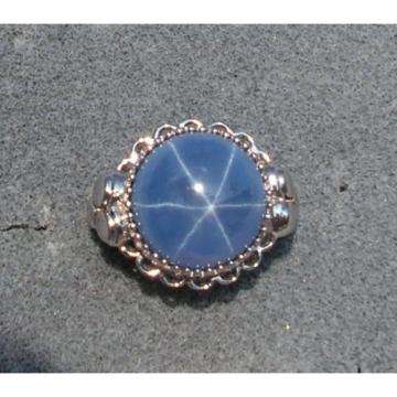 28CT 18MM PMP LINDE LINDY CEYLON BLUE STAR SAPPHIRE CREATED RHODIUM PL S/S RING