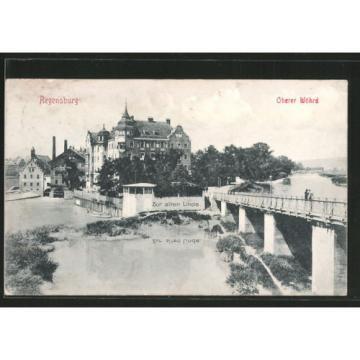 alte AK Regensburg, Oberer Wöhrd mit Gasthaus zur alten Linde