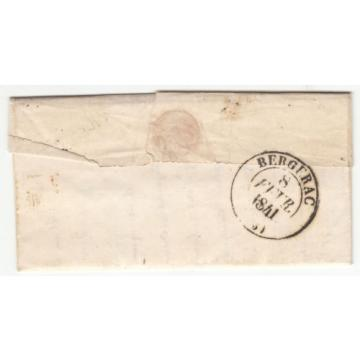 LETTRE 1841 LA LINDE POUR BERGERAC TAXE CADOUIN CACHET ROUGE