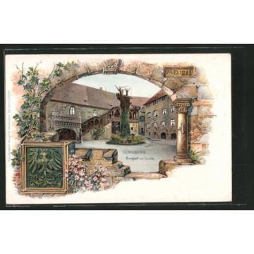alte Passepartout-Lithographie Nürnberg, Durchblick zum Burghof mit Linde