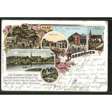 tolle Lithographie Bornhöved, Gasthaus zur Linde, Kirche, Marktplatz 1905